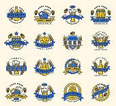 Vintage craft beer retro design elements emblems symbols