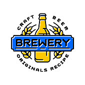 Vintage craft beer retro design element, emblem, symbol or vector icon, pub label, badge. Business signs template logo brewery identity hand made.