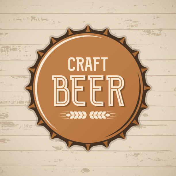 Craft Bier Kronkorken. Vektor-Brauerei-Symbol, Emblem, Abzeichen. – Vektorgrafik