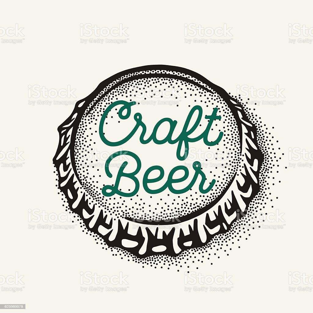 Craft beer bottle cap with brewing inscription in vintage style – Vektorgrafik