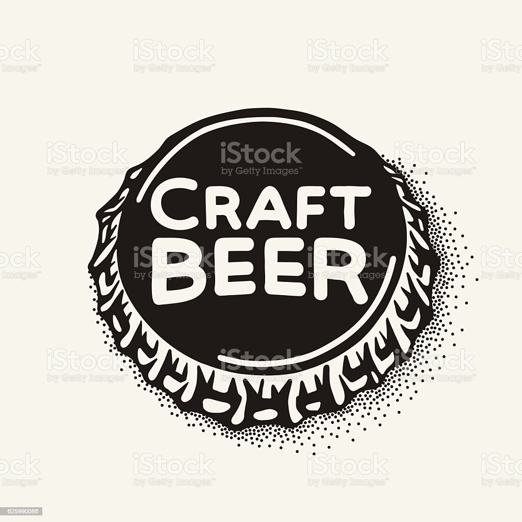 Craft beer bottle cap with brewing inscription in vintage style