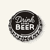 Engraving illustration with lettering in hipster style isolated on grunge background. Element for poster in pubs and bars.