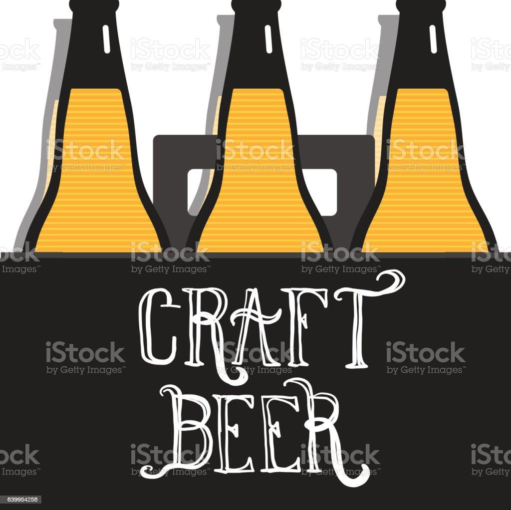 Craft Beer Bottle Six Pack Label Hand Lettering Design Stock Illustration Download Image Now Istock