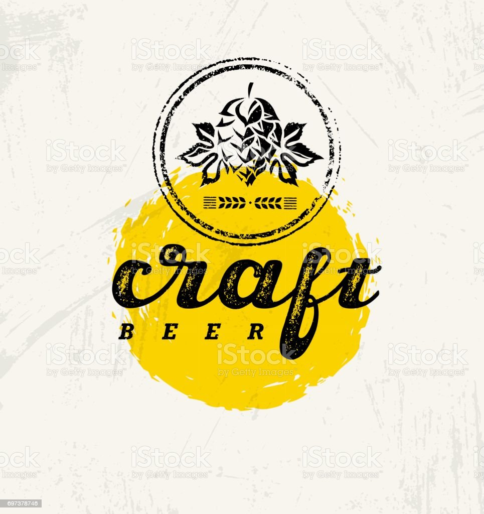 Craft Beer Brewery Artisan Creative Vector Stamp Sign Concept. Rough Handmade Alcohol Banner. Menu Page Design vector art illustration