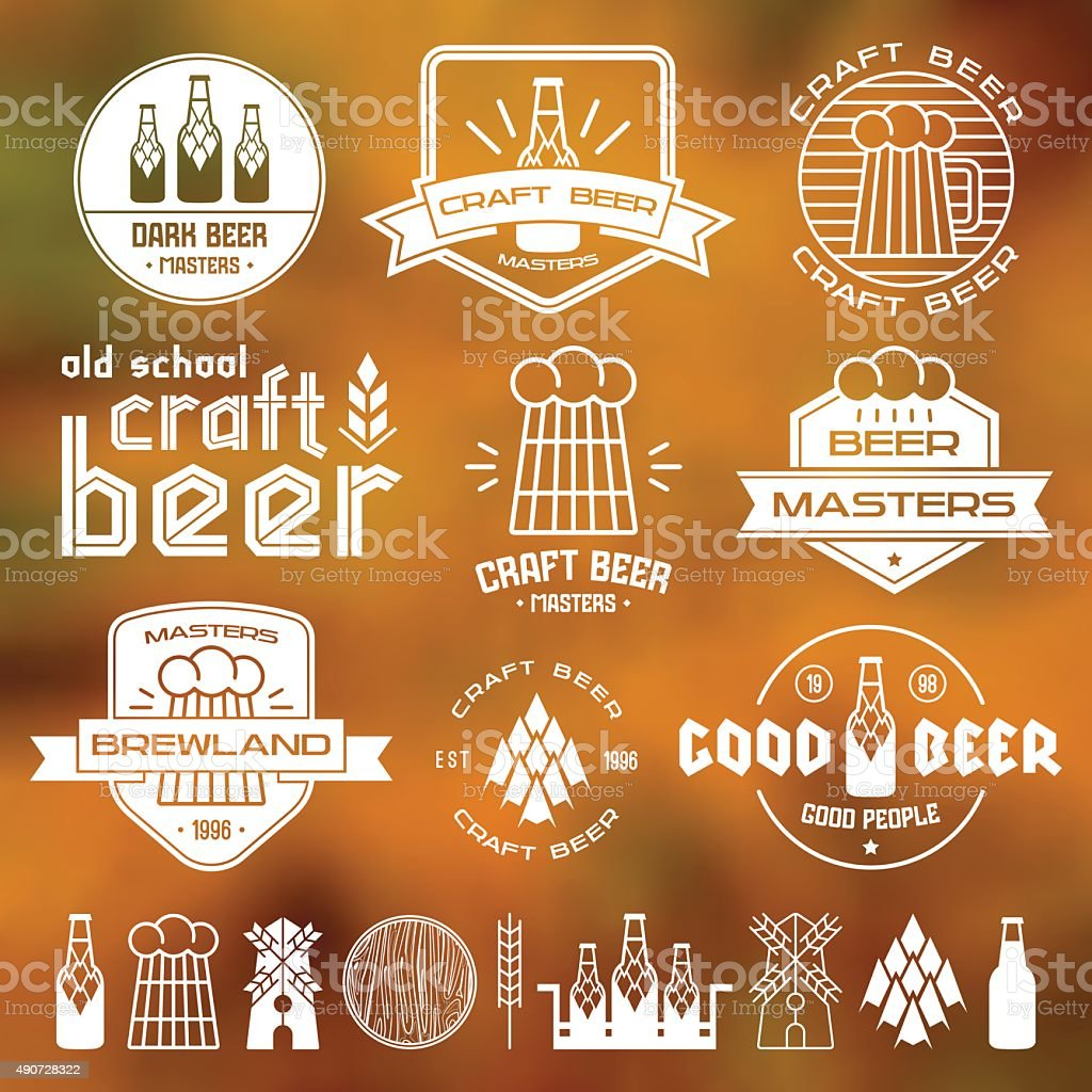 Craft beer brewery emblems vector art illustration