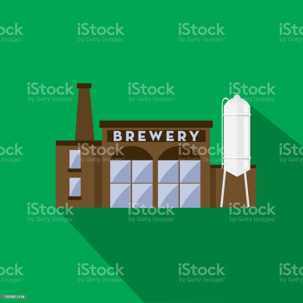 Craft beer brewery exterior Flat Design themed Icon with shadow vector art illustration