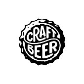 Craft Beer circle calligraphy on beer cap. Handwritten calligraphic lettering for greeting cards, posters, prints or home decorations. Vector illustration
