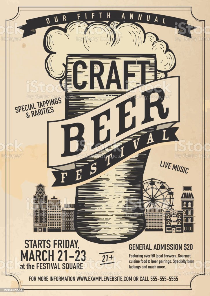 Craft beer Festival Poster design template royalty-free craft beer festival poster design template stock vector art & more images of advertisement
