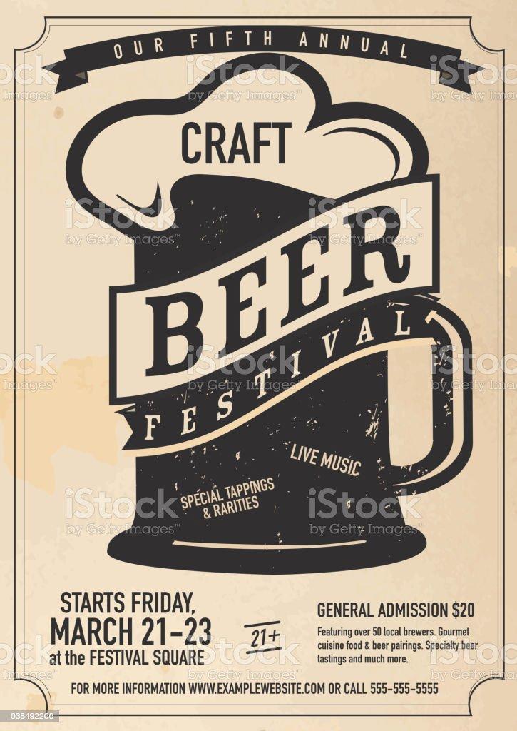 Craft beer Festival Poster design template – Vektorgrafik