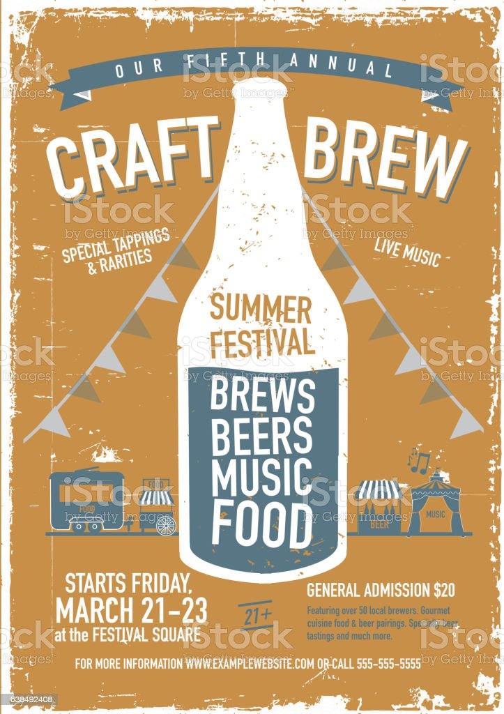 craft beer festival poster design template stock vector