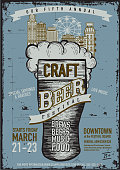 Vector illustration of a Craft beer Festival Poster design template. Easy to edit with layers.
