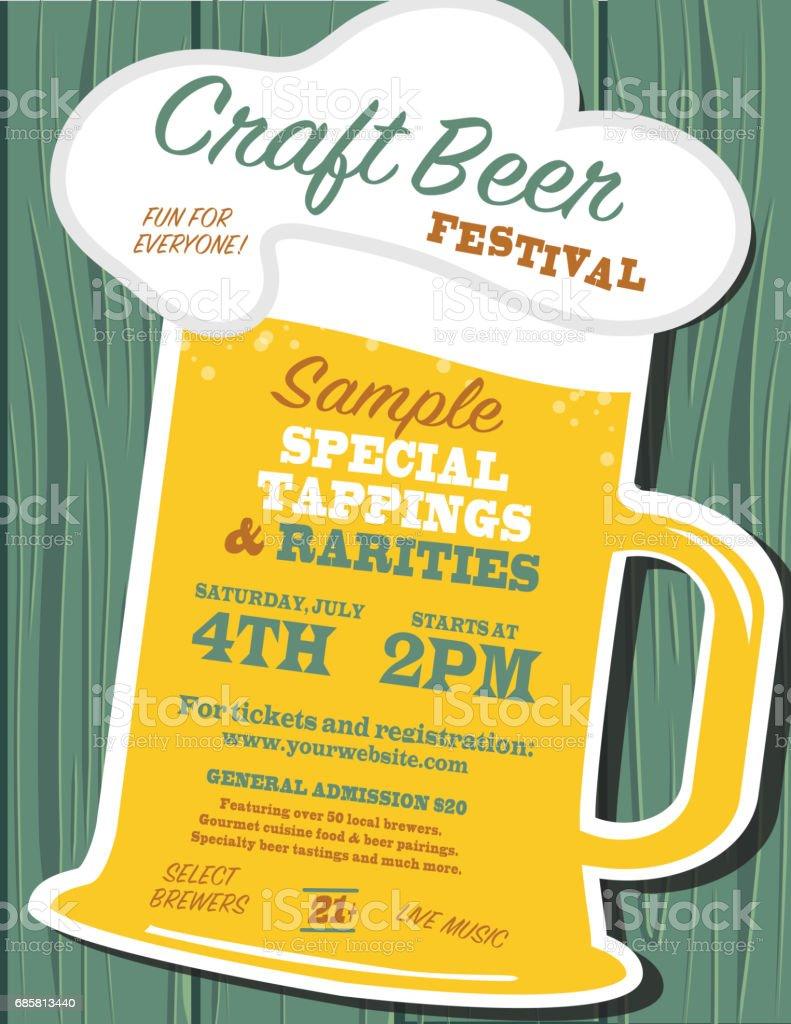 Craft Beer Festival Plakat Design-Vorlage – Vektorgrafik