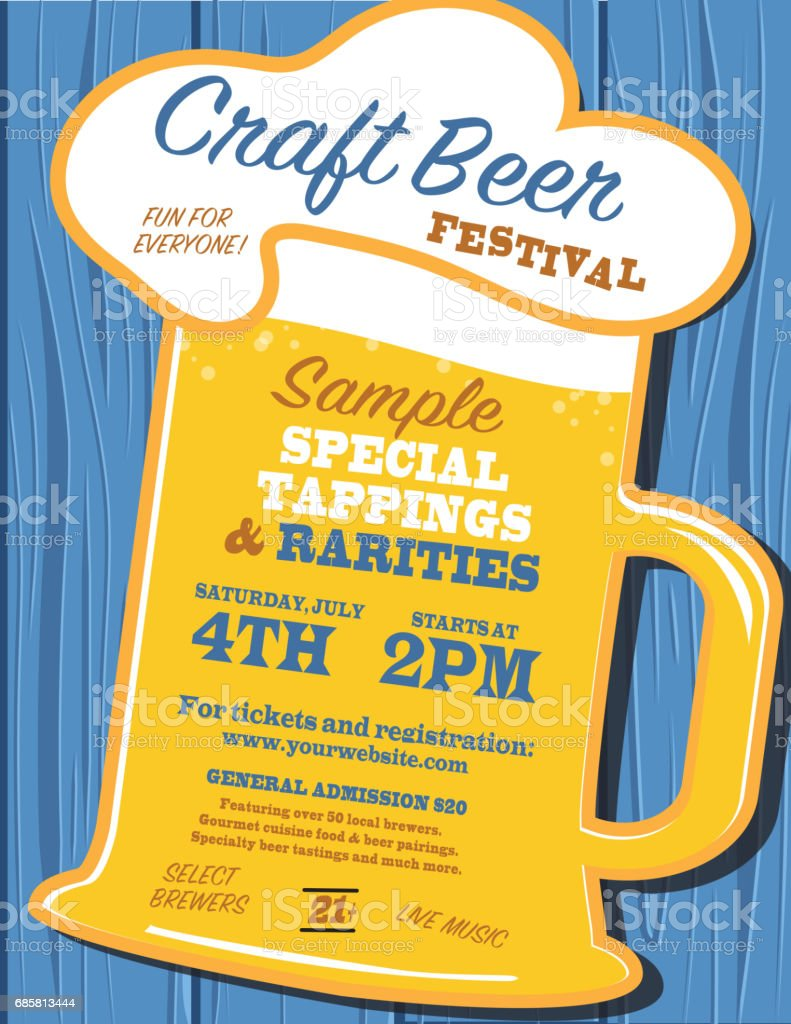 Craft Beer Festival Poster Design Template Stock Vector Art More