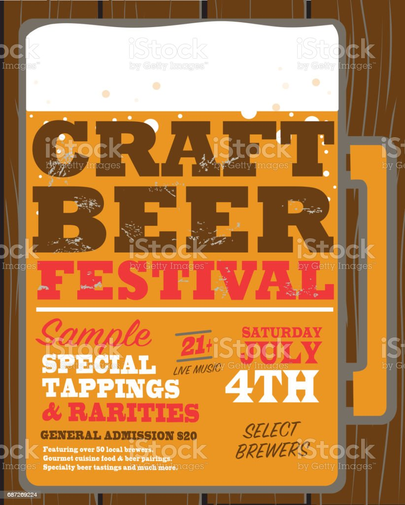 Craft Beer Festival Poster Design Template Royalty Free Stock