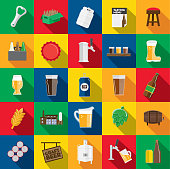 Vector illustration of a craft beer Flat Design themed Icon set with shadow. Vector eps 10, fully editable.
