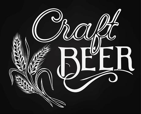 Craft beer hand written with wheat ear line art. Beer Barley design concrept on blackboard background.