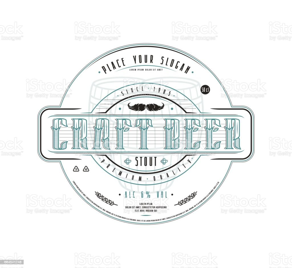 Craft beer label template in vintage style royalty-free craft beer label template in vintage style stock vector art & more images of alcohol
