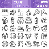 Craft beer line icon set, brewery symbols collection or sketches. Beer linear style signs for web and app. Vector graphics isolated on white background