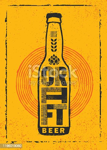 istock Craft Beer Local Brewery Artisan Creative Vector Sign Concept. Rough Handmade Alcohol Banner. 1196019060
