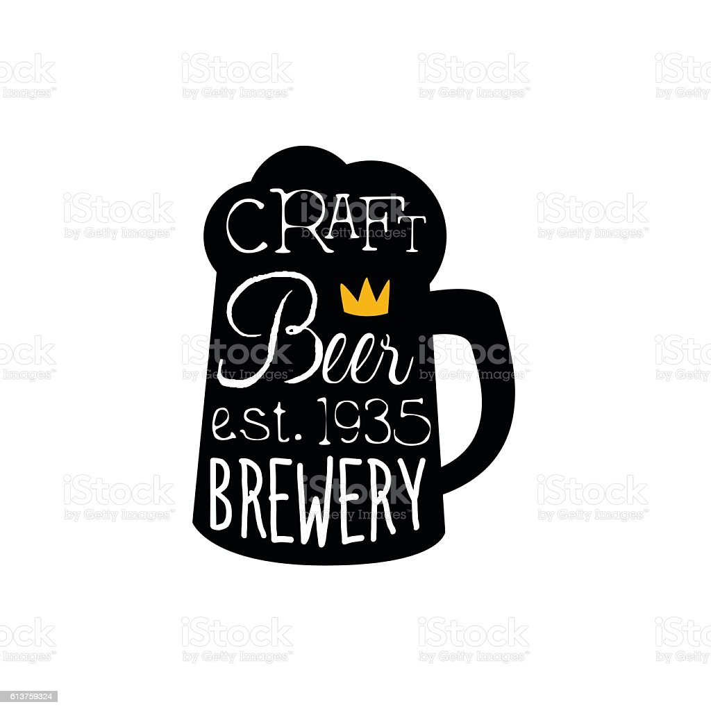 Craft beer logo design template with pint silhouette stock for Craft beer logo design