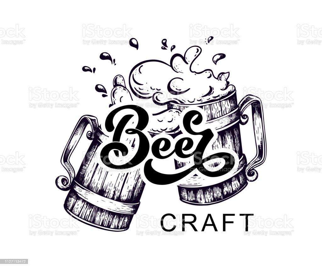 Vetores De Cervejas Artesanais Logotipo Escrito A Mao Lettering