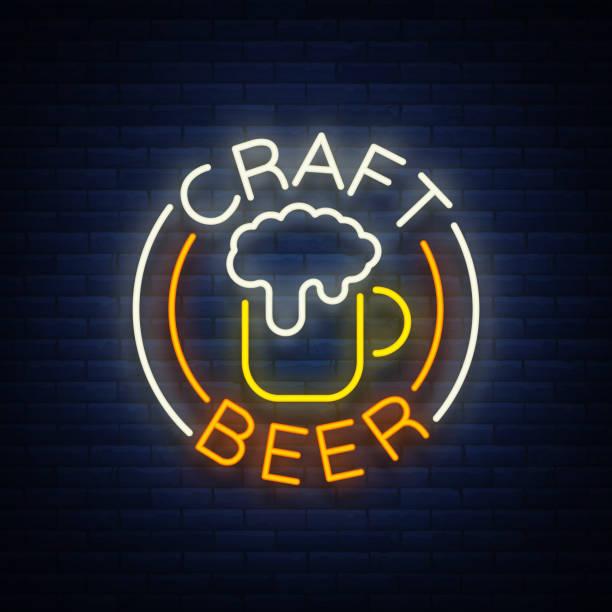Craft beer logo, label, emblem vector illustration, design emblem in neon style. Neon logo, sign, bright signboard, glowing banner vector art illustration
