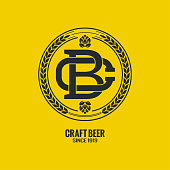 craft beer logo on yellow background 8 eps