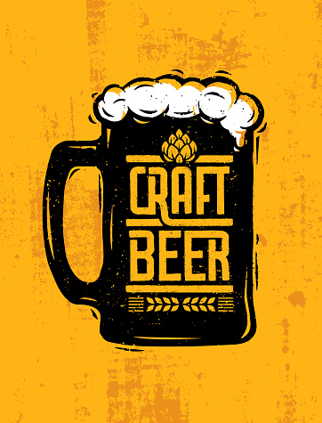 Craft Beer Mug With Foam Creative Lettering Composition On Rough Background