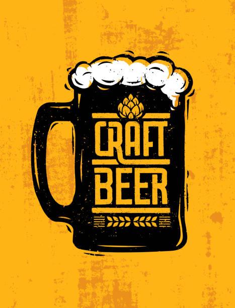 Craft Beer Mug With Foam Creative Lettering Composition On Rough Background Craft Beer Mug With Foam Creative Lettering Composition On Rough Background. beer glass stock illustrations