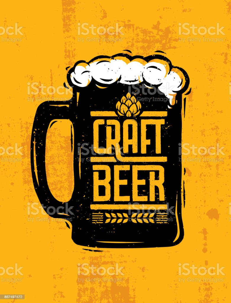 Craft Beer Mug With Foam Creative Lettering Composition On Rough Background vector art illustration