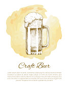 Craft beer object hand drawn icon vector sketch. Full tumbler with handle with flowing foam isolated on beige stain vintage illustration for bar menu.