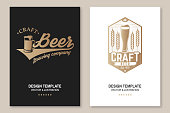 Craft Beer poster, flyer, template, card. Vector illustration. Vintage design for bar, pub and restaurant business. Coaster for beer.
