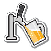 istock Craft beer pouring from a tap Flat Design themed Icon on white background 1320216570