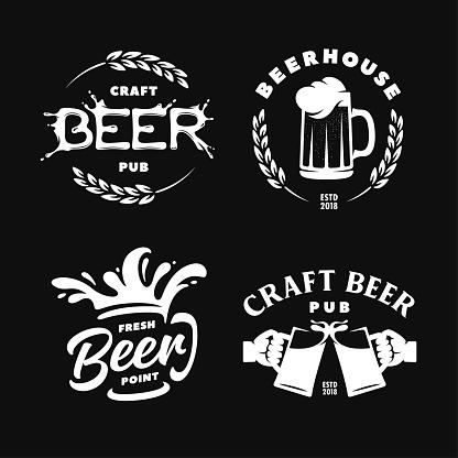 Craft beer pub emblems labels logotype set. Vector vintage illustration.