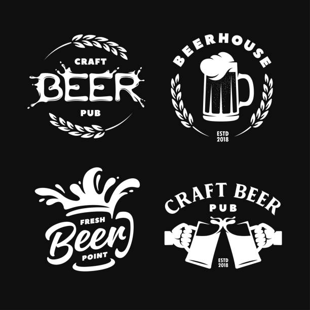 Craft beer pub emblems labels logotype set. Vector vintage illustration. Craft beer pub emblems labels logotype set. Beer house sign. Hands holding mugs. Beer foam splash. Vector vintage illustration. beer stock illustrations