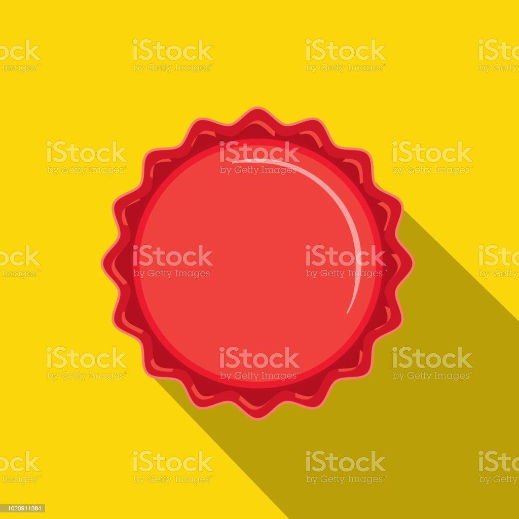 Craft beer rode kroonkurk Flat Design themed pictogram met schaduw - Royalty-free Alcohol vectorkunst
