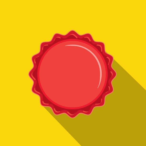 Craft beer red bottle cap Flat Design themed Icon with shadow vector art illustration