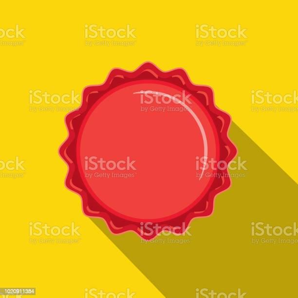 Craft Beer Rode Kroonkurk Flat Design Themed Pictogram Met Schaduw Stockvectorkunst en meer beelden van Alcohol