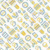 Craft beer seamless pattern with thin line icons related to Octoberfest: beer pack, hop, wheat, bottle opener, manufacturing, brewing, tulip glass, mag with foam, can. Modern vector illustration.