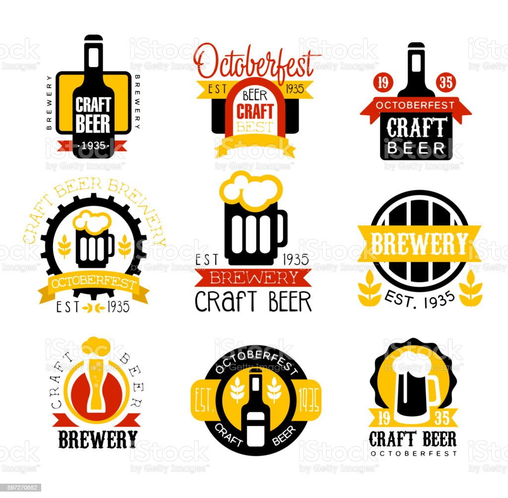 Craft Beer Set Of Logo Design Templates Lizenzfreies craft beer set of logo design templates stock vektor art und mehr bilder von 1935