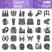 Craft beer solid icon set, brewery symbols collection or sketches. Beer glyph style signs for web and app. Vector graphics isolated on white background
