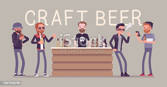 Craft beer store bar and male visitors