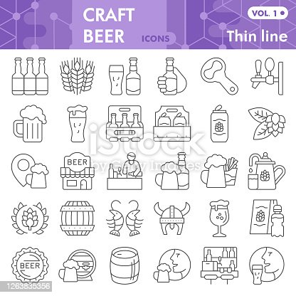 Craft beer thin line icon set, brewery symbols collection or sketches. Beer linear style signs for web and app. Vector graphics isolated on white background