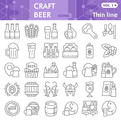 Craft beer thin line icon set, brewery symbols collection or sketches. Beer linear style signs for web and app. Vector graphics isolated on white background.