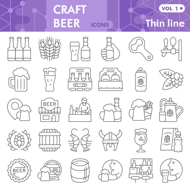 Craft beer thin line icon set, brewery symbols collection or sketches. Beer linear style signs for web and app. Vector graphics isolated on white background. Craft beer thin line icon set, brewery symbols collection or sketches. Beer linear style signs for web and app. Vector graphics isolated on white background ale stock illustrations