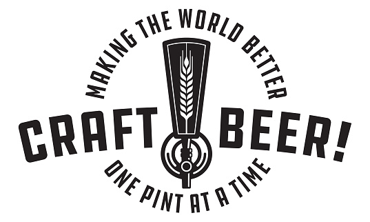 Craft beer draft tap icon graphic. Making the world better one pint at a time. Great for menu, label, sign, invitation or poster.