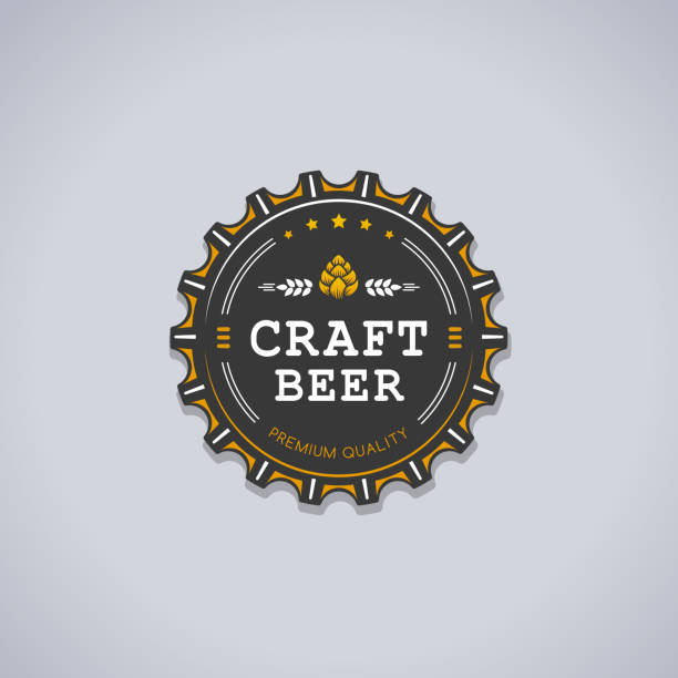 Craft Beer Beer bottle cap shaped badge with CRAFT BEER text  and hop sign vector illustration beer stock illustrations