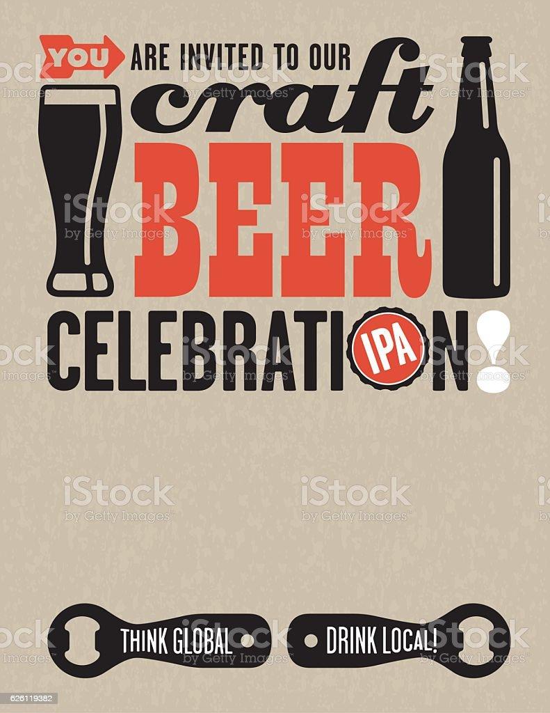 Craft Beer Vector Invitation vector art illustration