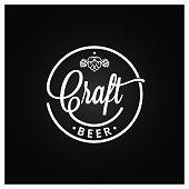 Craft beer vintage logo on black background 8 eps