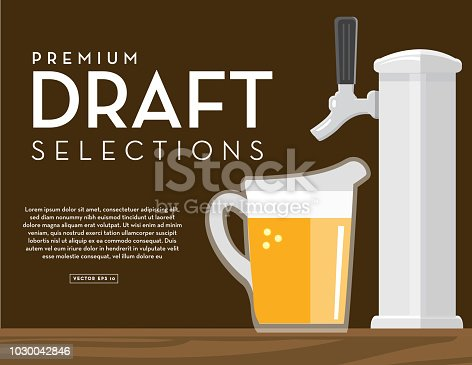 Vector illustration of a Craft brewery banner design template with placement text